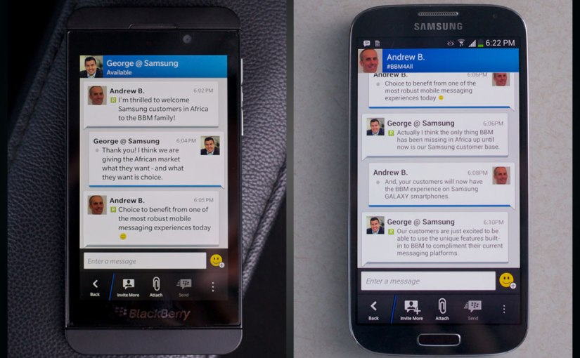 Samsung Africa Welcomes BBM: Exclusive interview and BBM Chat between the twocompanies