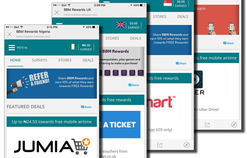 Billaway and BBM Messenger Further Extends BBM Rewards  to Four New Territories